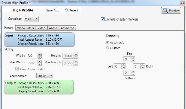 VidCoder Settings Tutorial - High Quality H.264 (x264) MKV Video Encoding-2-vidcoder-settings-picture-tab.png