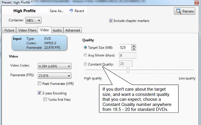 VidCoder Settings Tutorial - High Quality H.264 (x264) MKV Video Encoding-4-vidcoder-settings-video-tab.png