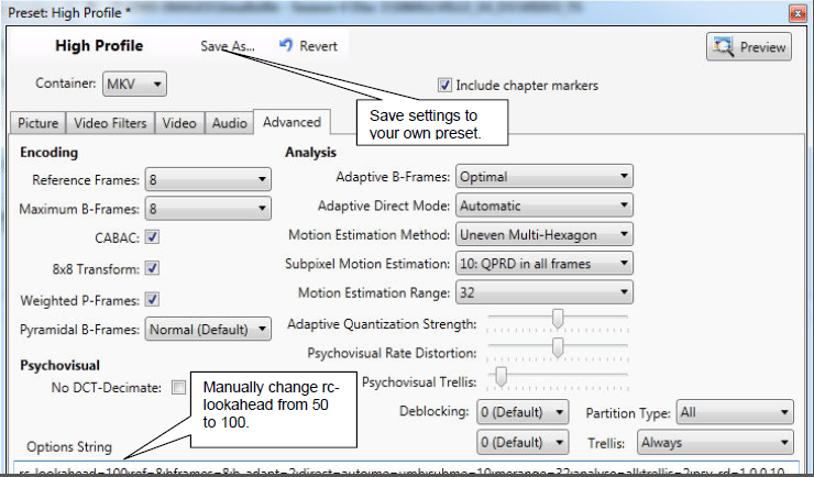 VidCoder Settings Tutorial - High Quality H.264 (x264) MKV Video Encoding-6-vidcoder-settings-advanced-tab.png