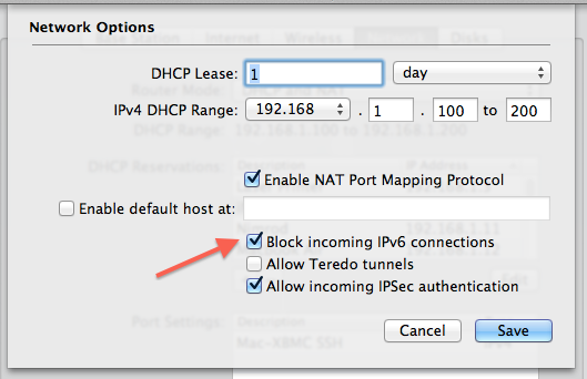 Block Incoming IPv6 Connections