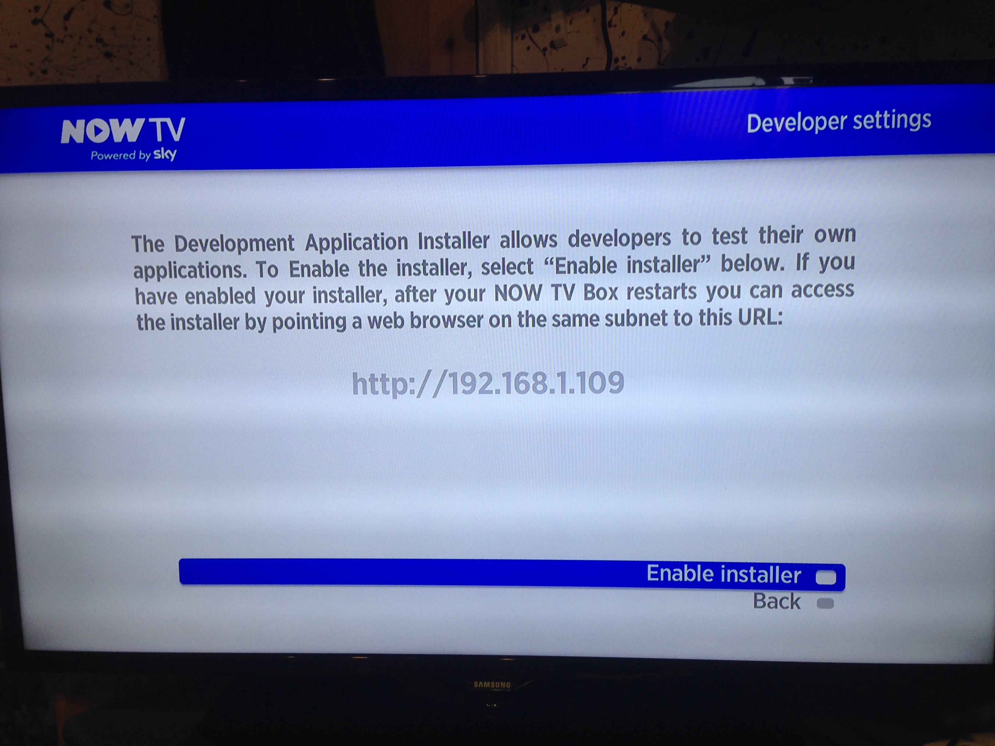 Now TV - Enable Developer Mode