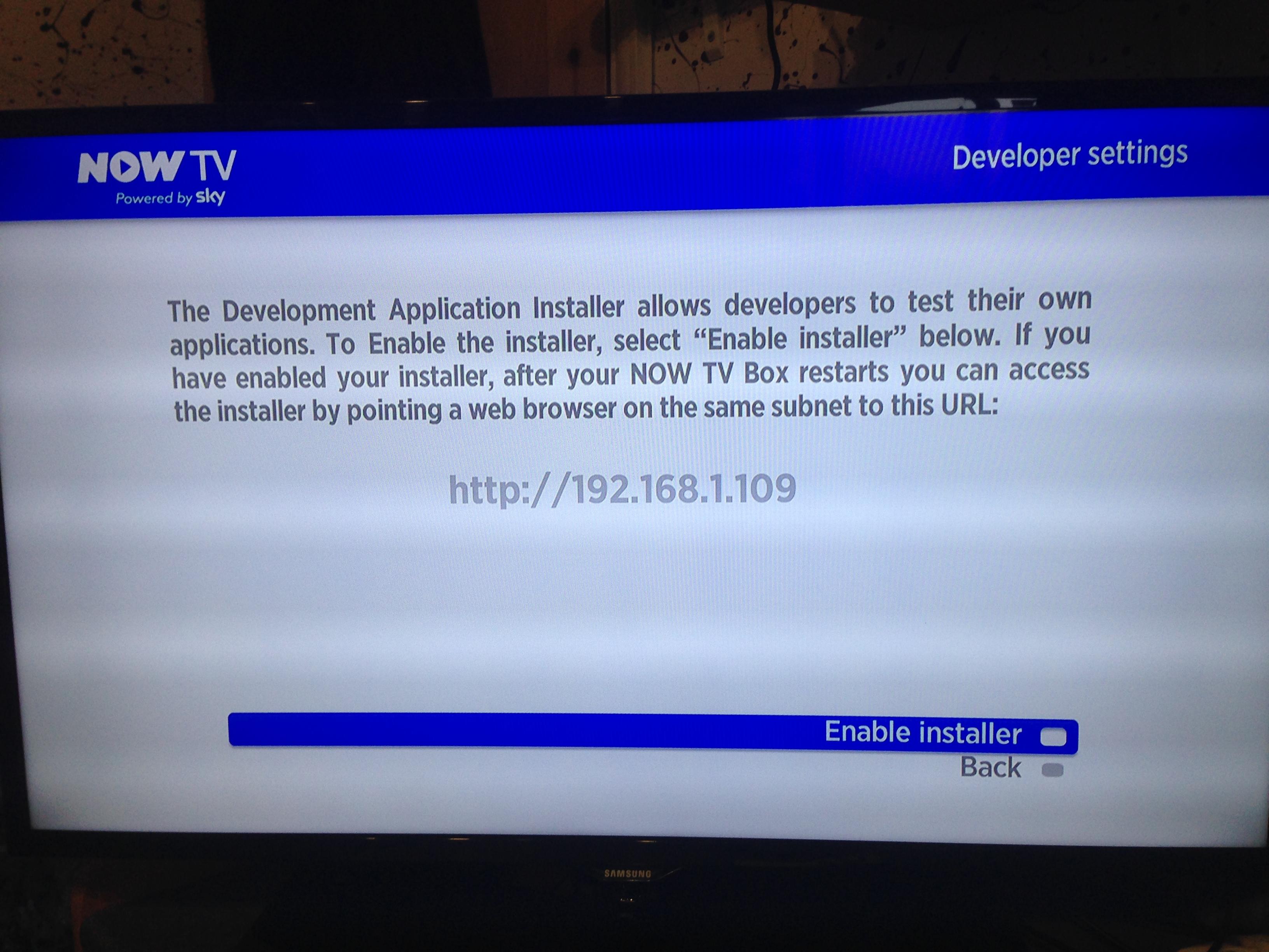 Now TV - Enable Developer Mode