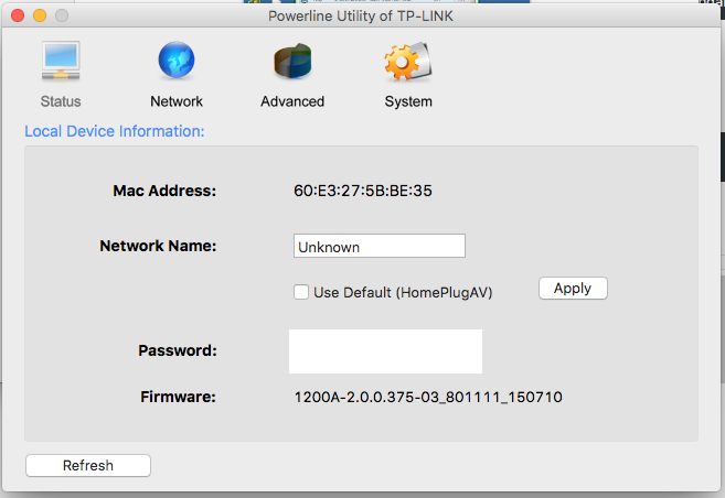 TP-Link Homeplug Powerline Utility for Mac OSX (AV500
