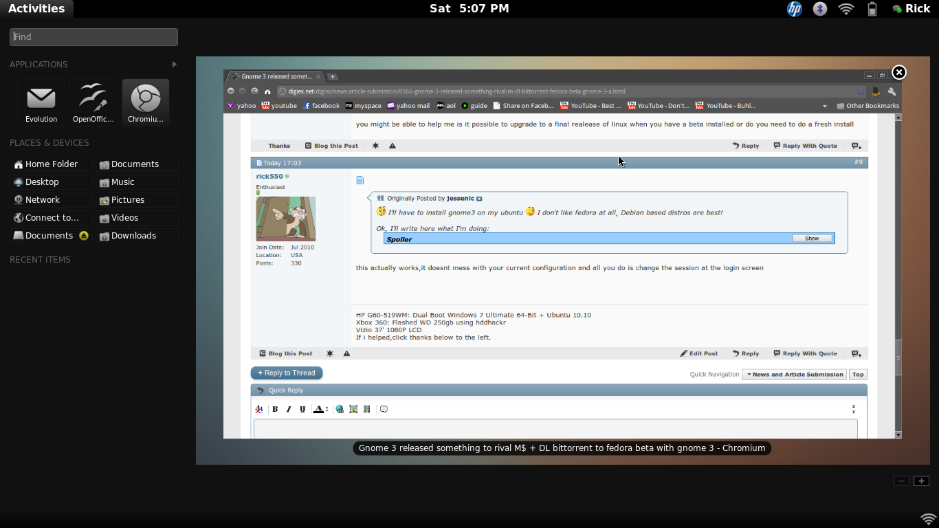 Gnome 3 released something to rival M$ + DL  bittorrent to fedora beta with gnome 3-screenshot.png