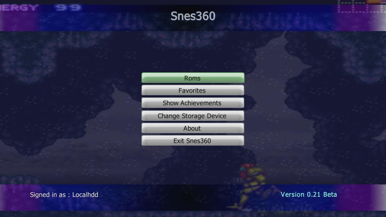 SNES360 (Snes Xbox 360 Emulator) Beta V0.21 Download - Super Nintendo Emulator-snes360mainmenu.jpg