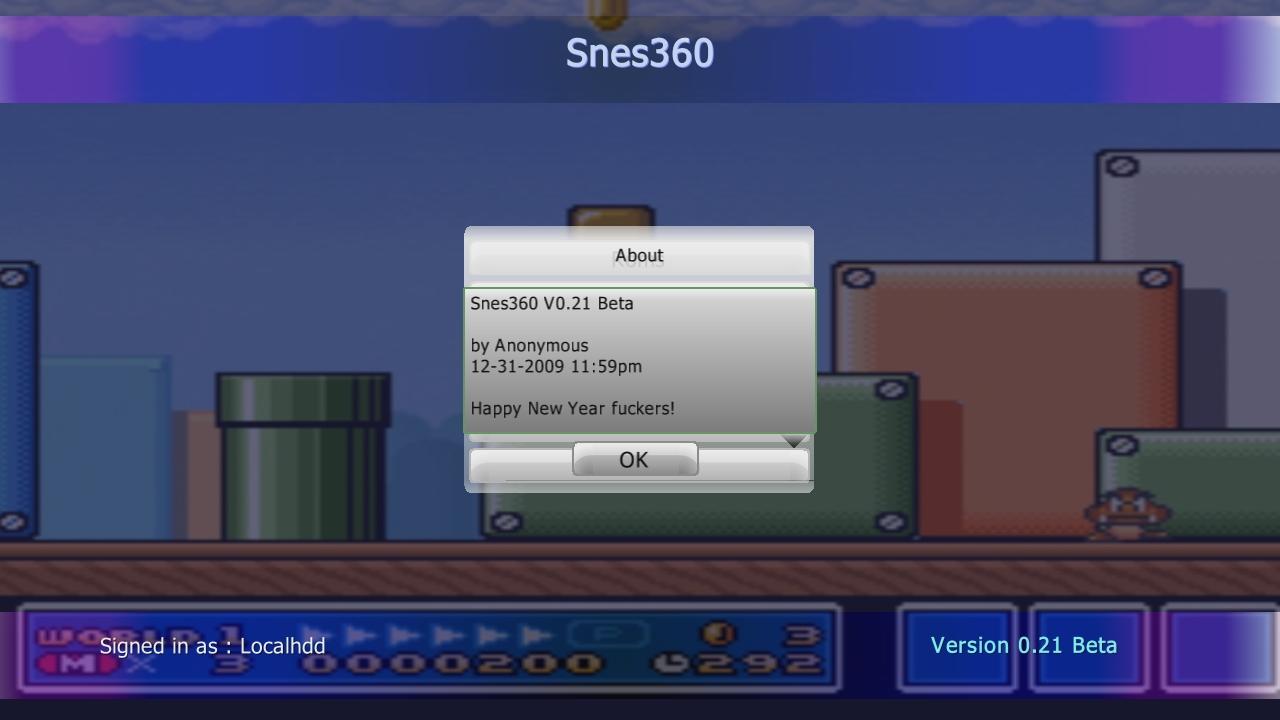 SNES360 (Snes Xbox 360 Emulator) Beta V0.21 Download - Super Nintendo Emulator-snes360mainmenuabout.jpg