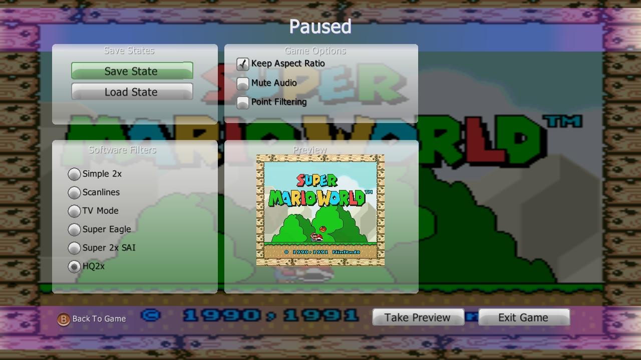 SNES360 (Snes Xbox 360 Emulator) Beta V0.21 Download - Super Nintendo Emulator-snes360pausemenu.jpg