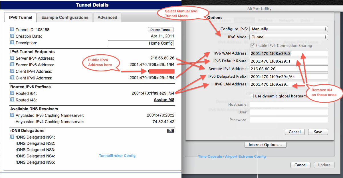 Mapping TunnelBroker.net Settings to your Apple Router Settings