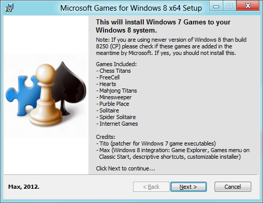 Windows Vista / Windows 7 games ported for Windows 8